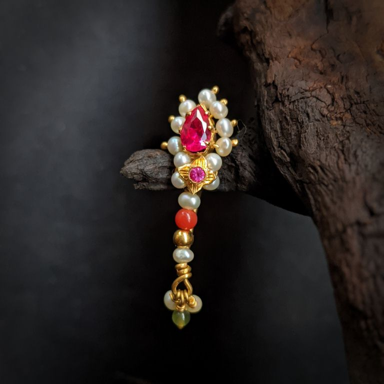 Nose Pin - Nath with Pearl Red Stone Coral