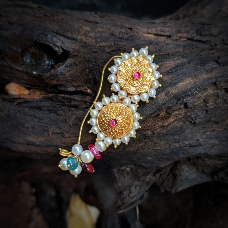 Nose Pin - Antique Nath with Pearl Cob Ruby Emerald Ruby Bead