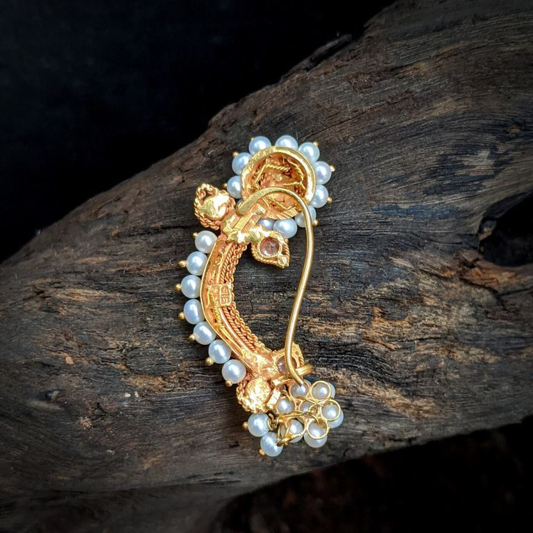 Nose Pin - Antique Nath with Pearl Cob Ruby and CZ