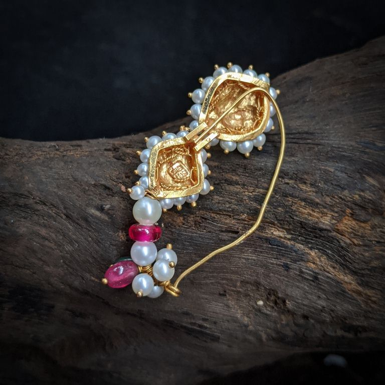 Nose Pin - Antique Nath with Pearl Red Green Stone