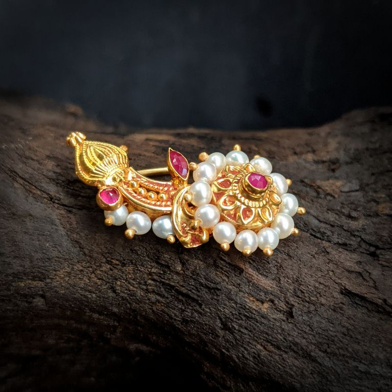 Nose Pin - Antique Nath with Pearl and Ruby