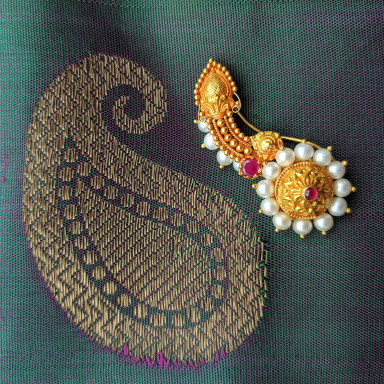 Nose Pin - Antique Nath with Pearl Cob and Cut Ruby