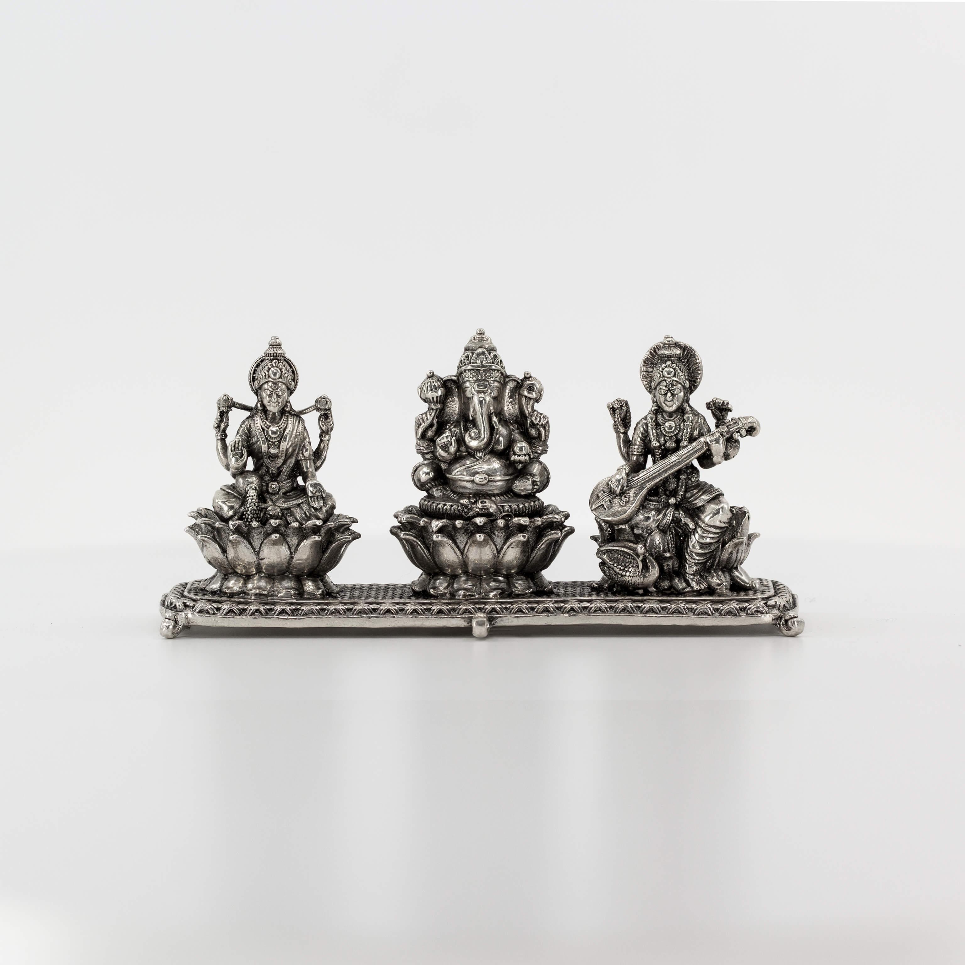 Statue - 3D - Oxidised - Lakshmi Ganesha Saraswathi