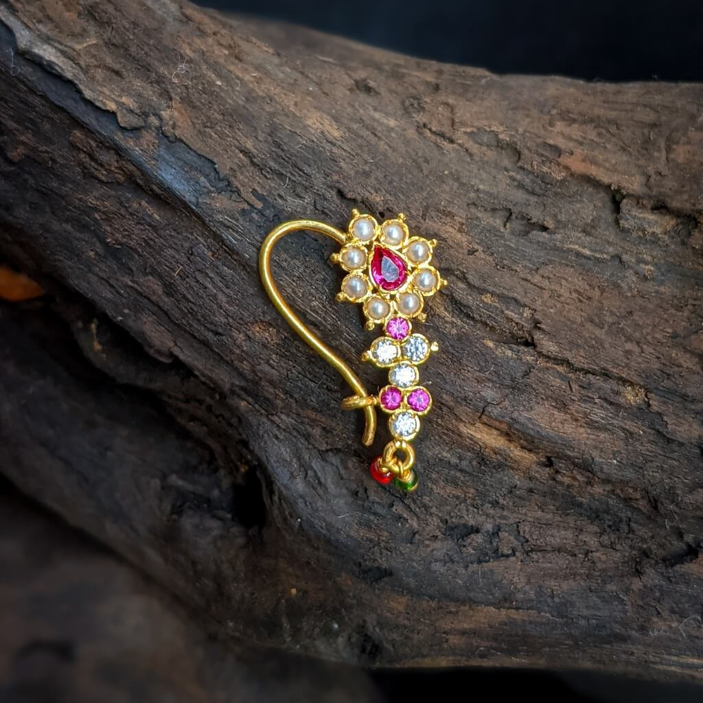 Nose Pin – White CZ Red Stone Pearl Nath