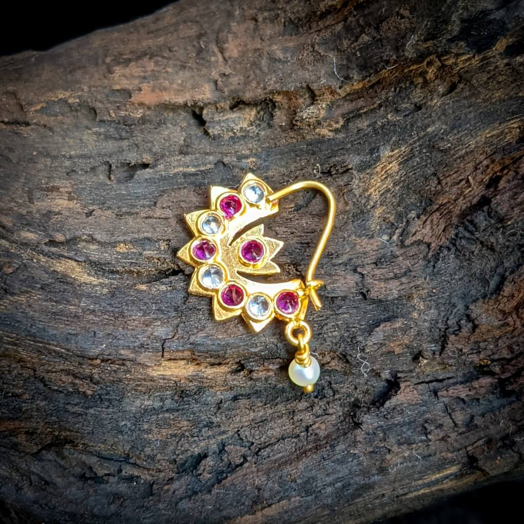 Nose Pin – Chand White CZ Red Stone Nath Pearl Hanging