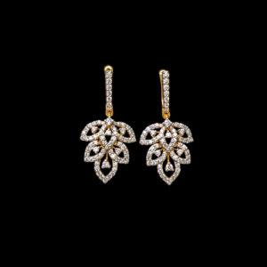 Diamond – Earring – 0.98ct Dia Nature Inspired Clip Dangler
