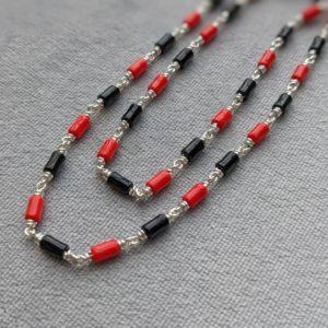 Silver – Kids – Kanti – 1+1 Red Black Drum Beads Sutti