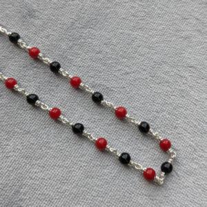 Silver – Kids – Kanti – 2+1 Red Black Drum Beads Sutti