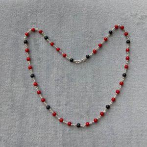 Silver – Kids – Kanti – 1+3 Black Red Round Beads Sutti