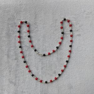 Silver – Kids – Kanti – 1+2 Black Red Round Beads Sutti