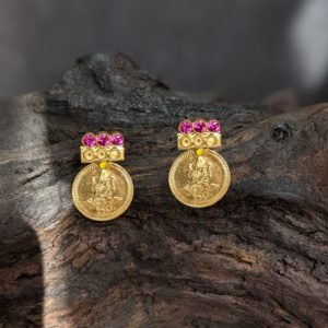 Earring – Lakshmi Kasu Misri with 3 Red Stone