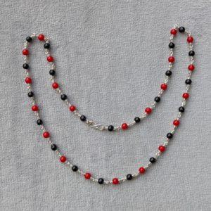 Silver – Kids – Kanti – 1+1 Black Red Round Beads Sutti