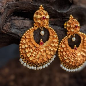 Earring – Antique Chand Bali Cob Ruby Pearl Hanging – South Screw