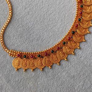 Necklace – Antique Lakshmi Kasu-Misri Cob Ruby Emerald