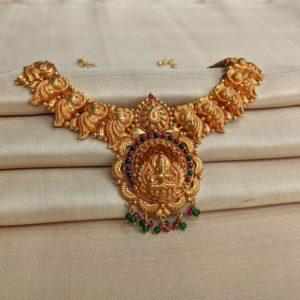 Necklace – Antique Lakshmi Peacock Motif with Cob Ruby Emerald
