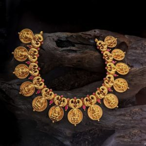 Necklace – Antique Lakshmi Kasu Bird Motif Cob Ruby