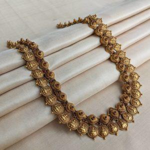 Necklace – Antique Lakshmi Kasu-Misri Haram with Cob Ruby