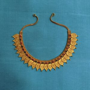 Necklace – Antique Lakshmi Pear-Kasu With Cob Ruby Emerald