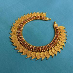 Necklace – Antique Lakshmi Mango Shaped Kasu Cob Ruby Emerald