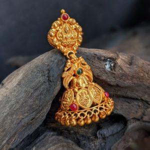 Earring – Antique Lakshmi Boat-Kasu Jumka With Cob Ruby