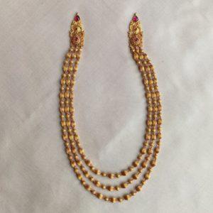 Necklace – Antique 3 Line Nerigundu Golf Ball Ganch Cob Ruby Mop