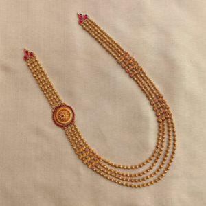 Necklace – Antique 4+4 L Golf Ball Nerigundu Floral Cob Ruby Mop