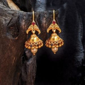 Earring – Antique Jumka with Gold Ball and Pearl Hanging